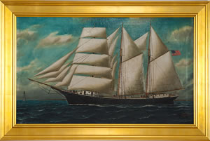 Framed nautical painting